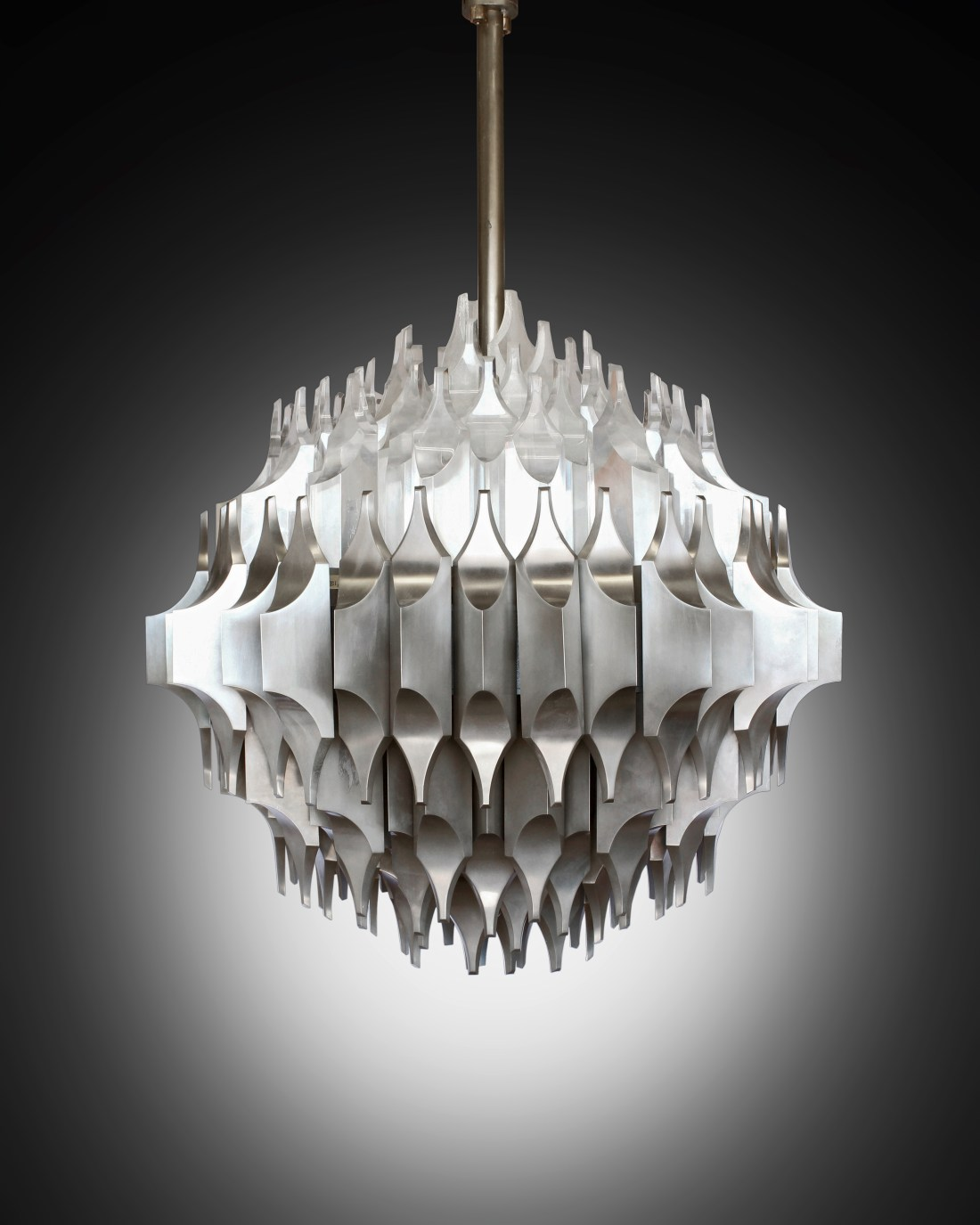 A unique Torciere della Cultura ceiling light, designed by Sami El-Khazen and executed by Arredoluce between 1964 and 1965.