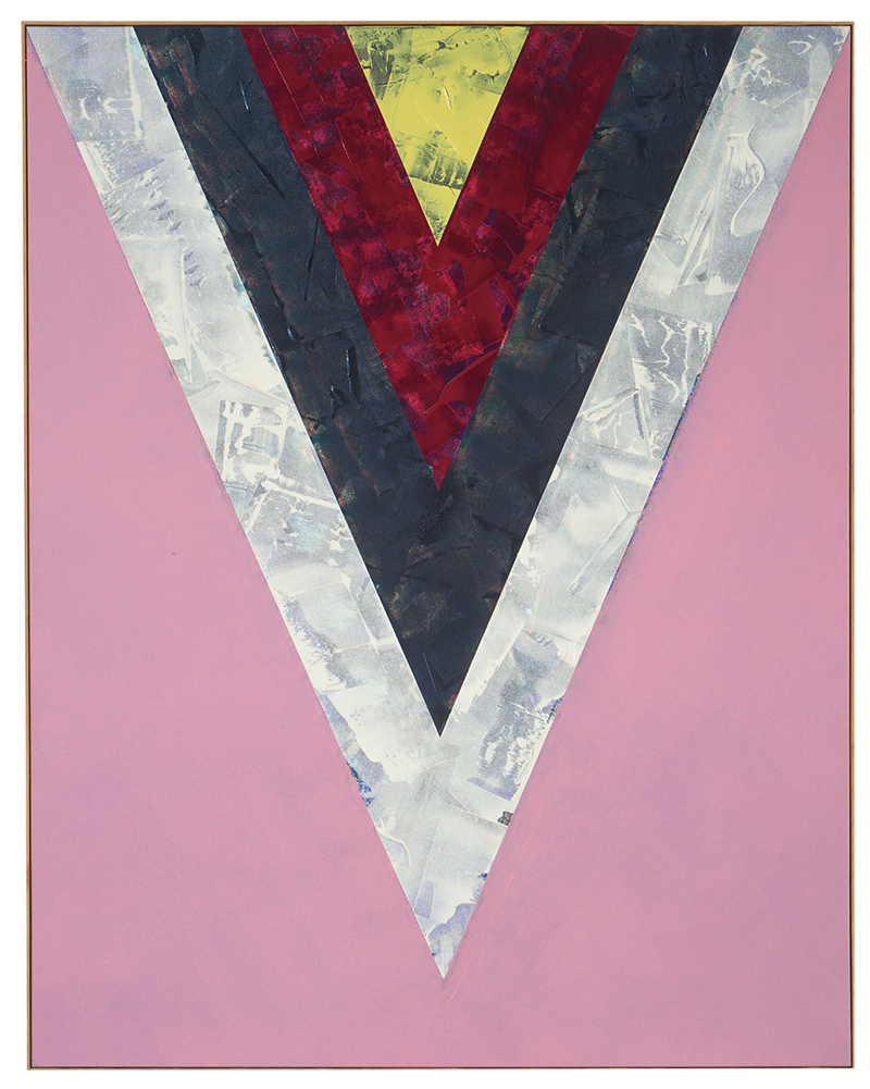 Kenneth Noland's Songs: Yesterdays, a large 1985 acrylic on canvas, features a large chevron at the top of the canvas, pointing down. It's colored in bands of silver, black, red, and yellow. All four are textured. The pink backdrop is smooth.