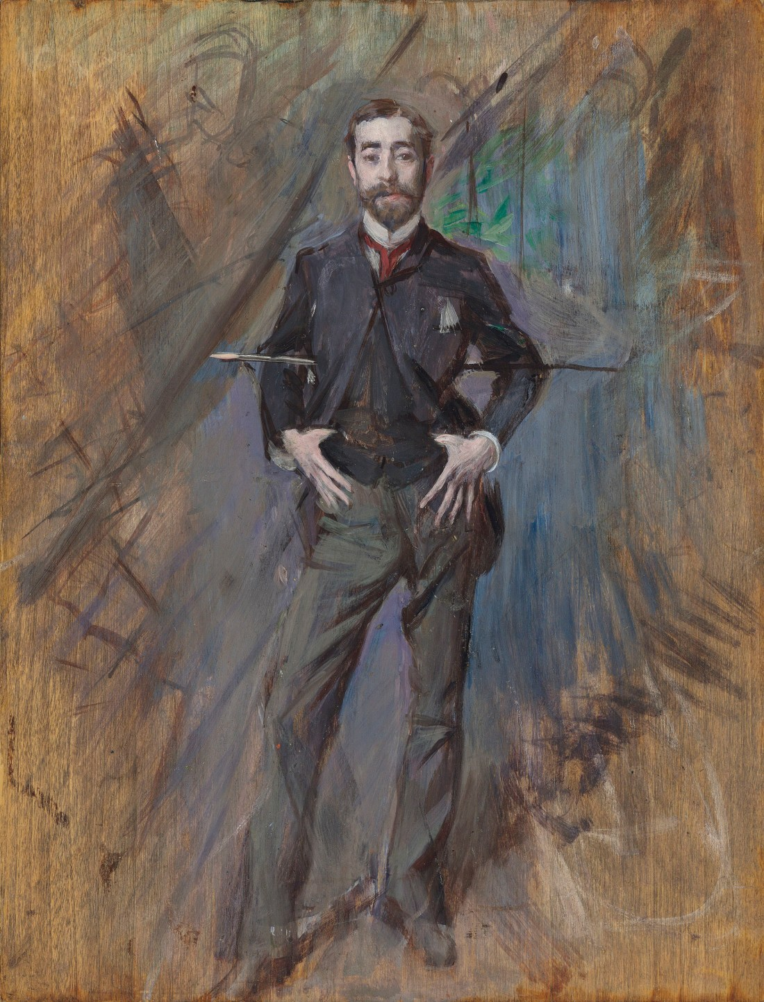 Giovanni Boldini's oil on panel portrait of John Singer Sargent shows the man in full, facing the viewer but not locking eyes with us. He has hitched his thumbs into the band of his waistcoat. He has threaded his cane behind his back, resting the ends on his elbows. While the image of Sargent is finished, the portrait and especially its background have a sketchy feel, with dozens of visible brush strokes.