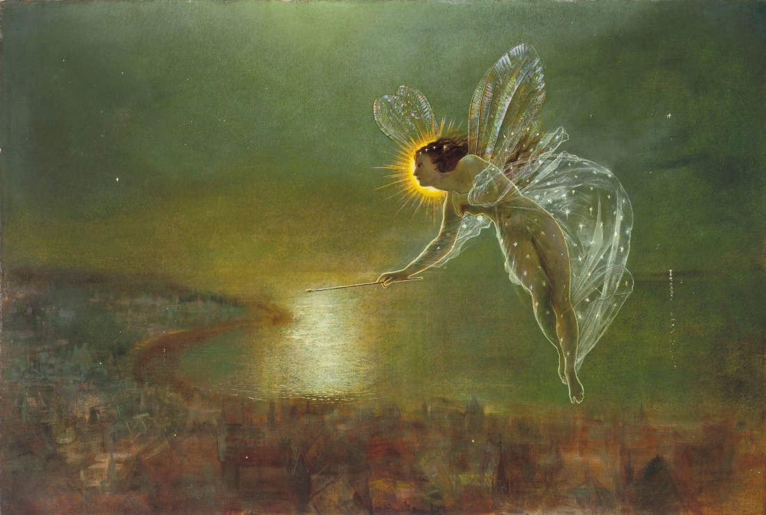 John Atkinson Grimshaw's Spirit of Night shows a fairy-like woman with delicate wings, wrapped in a see-through gown festooned with stars. She holds a wand and hovers over a seaside city. Her face, shown in profile, is haloed in gold.