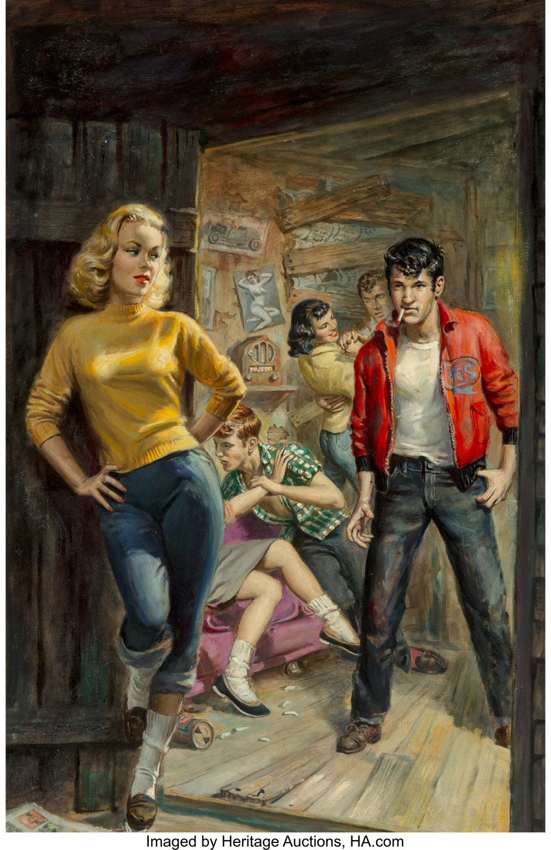 The cover art for the 1958 pulp novel D for Delinquent shows a nubile blonde in jeans and a yellow sweater leaning against the doorway of a shack. Inside, a tough-looking teen with greased black hair and a cigarette dangling from his mouth locks eyes with her.  Behind him, two couples grapple.