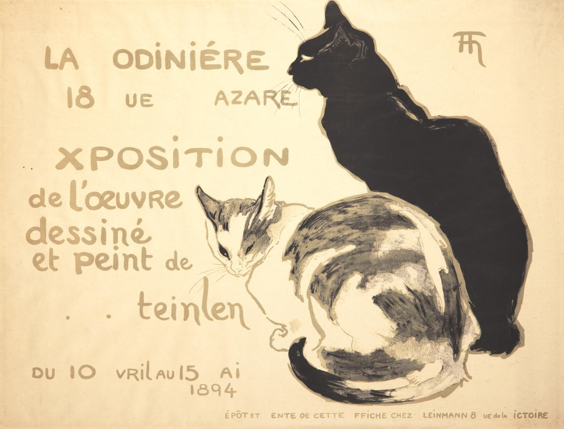 A progressive print of the 1894 Théophile-Alexandre Steinlen poster, advertising his first gallery show. It focuses on the black areas of the image.