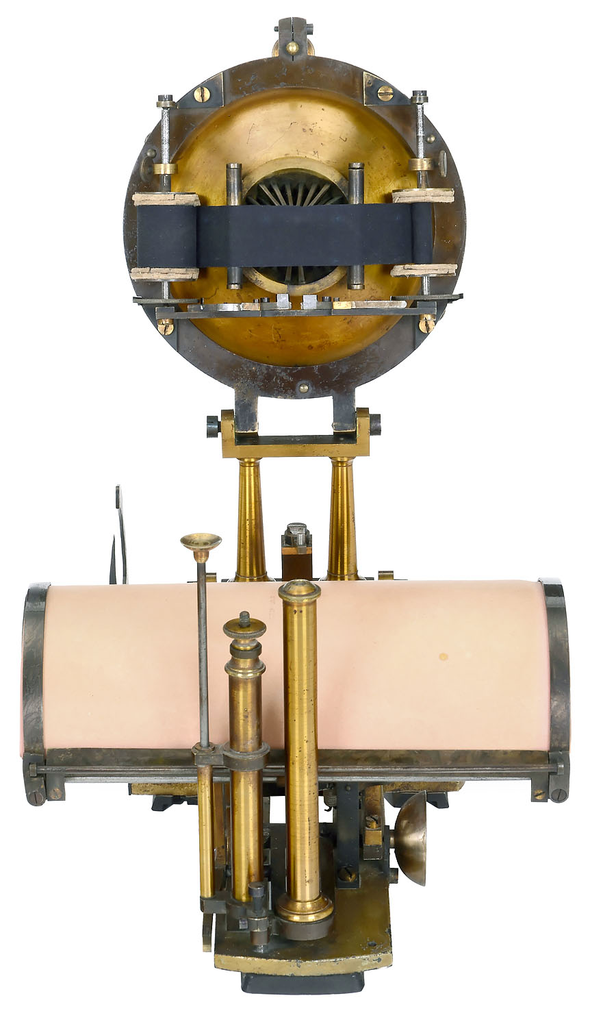 """A side view of a Malling-Hansen """"Writing Ball"""", an early typewriter, that shows the keyboard pulled up and away from its curved typing surface."""