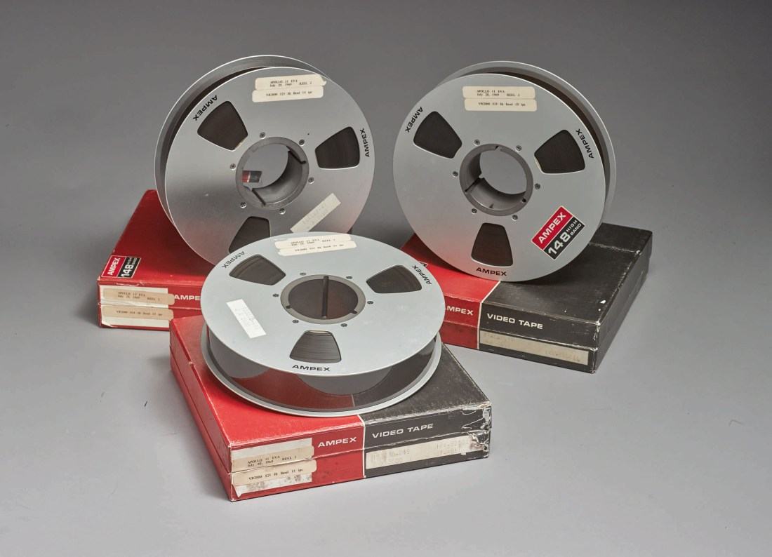 A trio of original, first-generation NASA videotapes of the Apollo 11 moon walk sold for $1.8 million at Sotheby's on July 20, 2019.