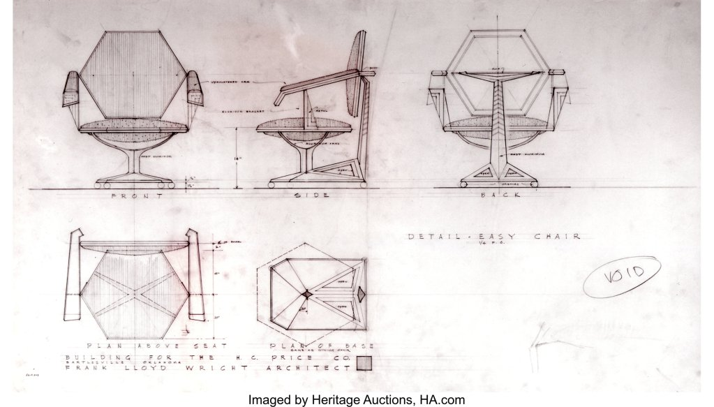 A design drawing for the Frank Lloyd Wright armchair for Price Tower.