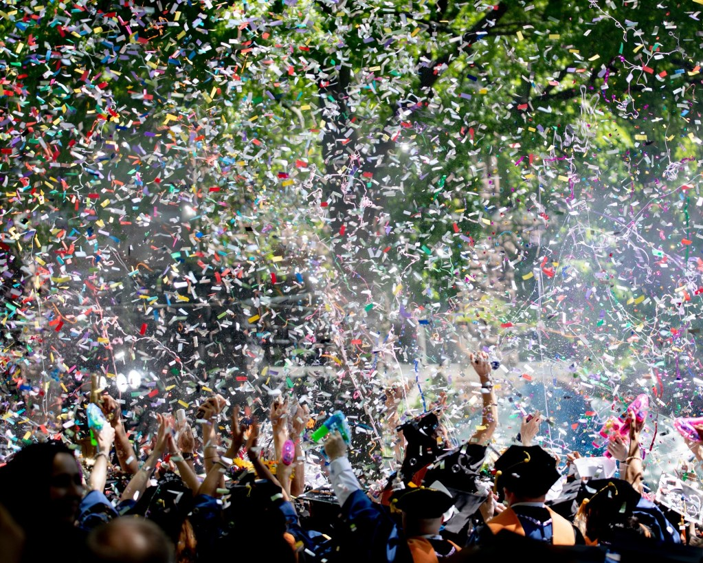 applause, graduation cheers with confetti