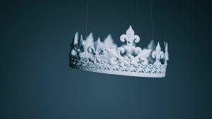 senior royal, white crown floating