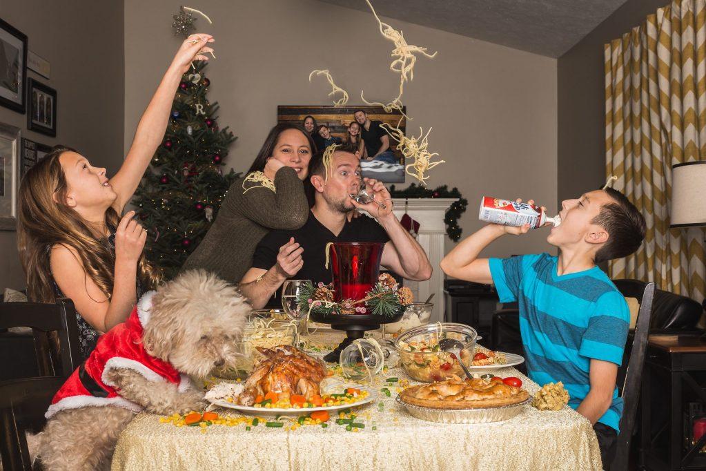 kids'table, family having crazy dinner