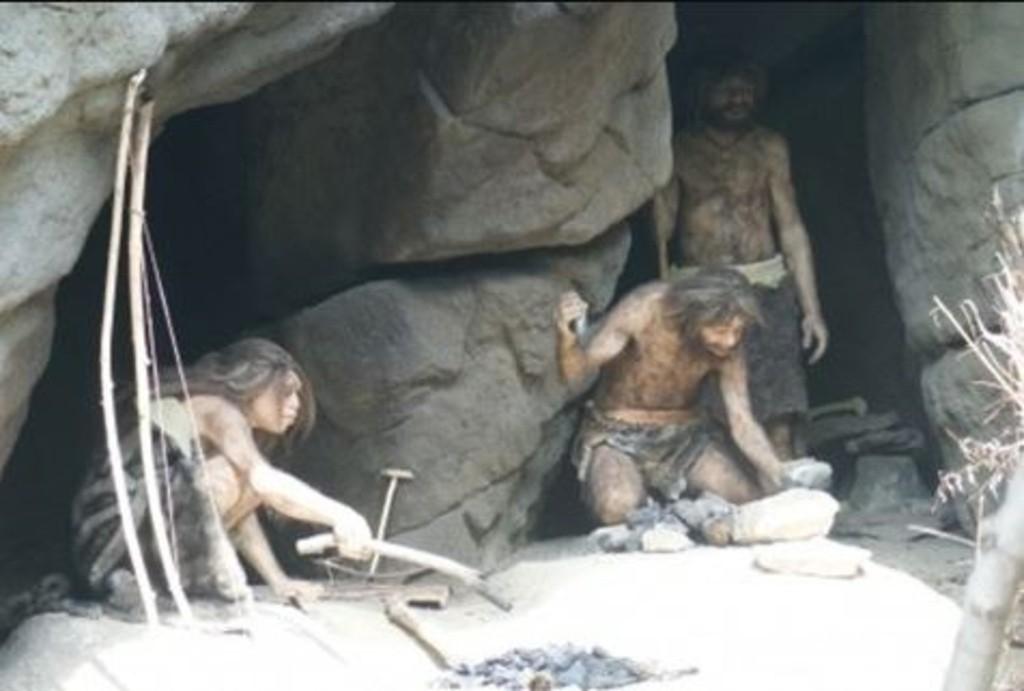 Man, woman, cave