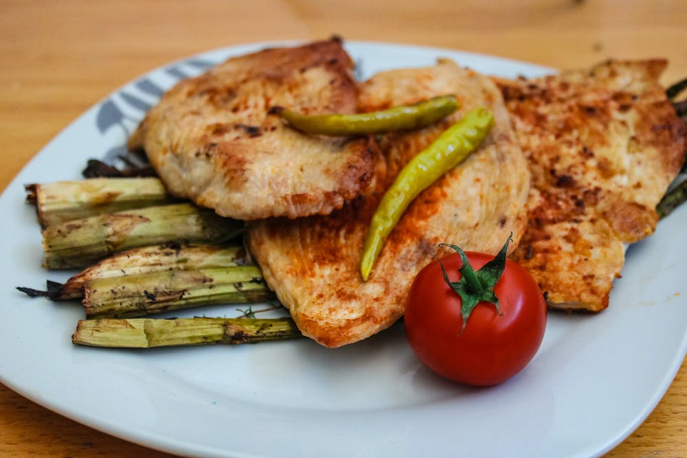 zinc,roasted chicken and side of vegetables