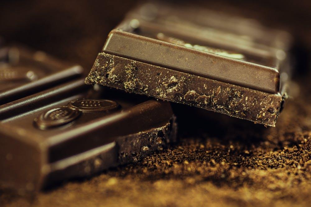 zinc, pile of dark chocolate