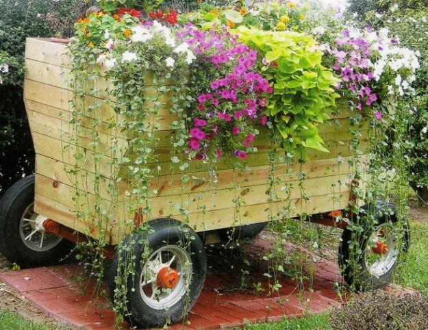 Wooden cart, flowers