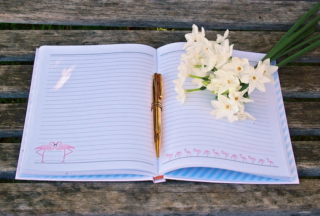 Diary with flower