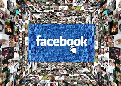 facebook logo with backdrop montage of photographs of faces