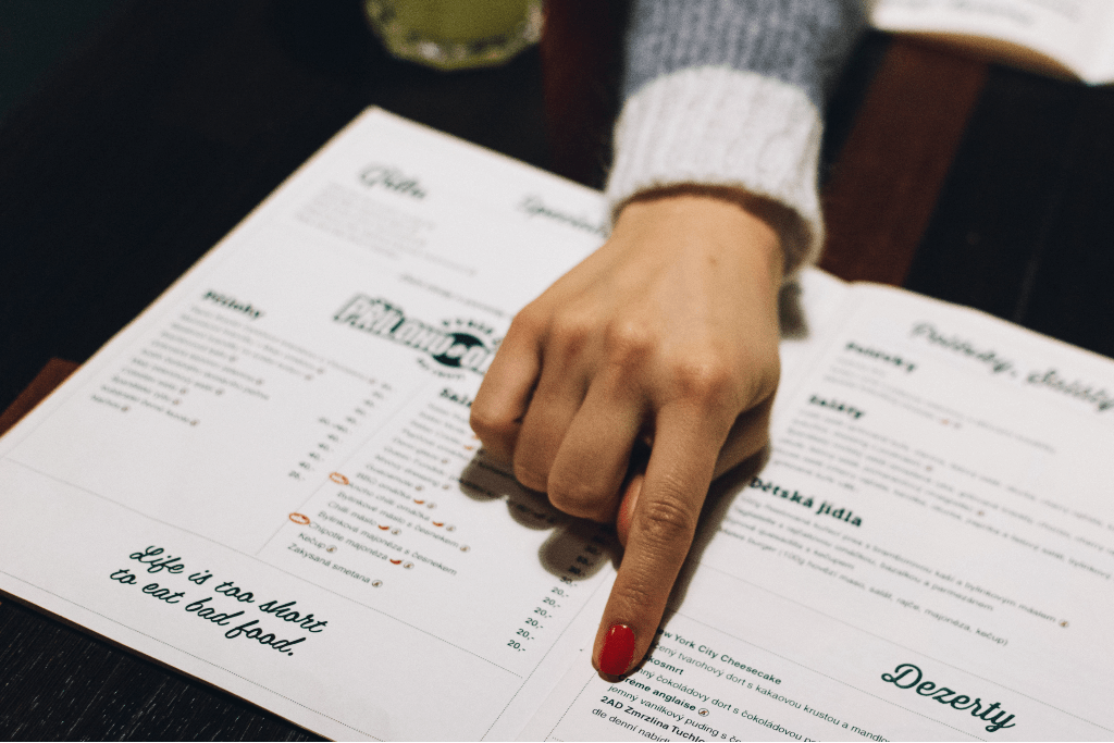 Germs on restaurant menu