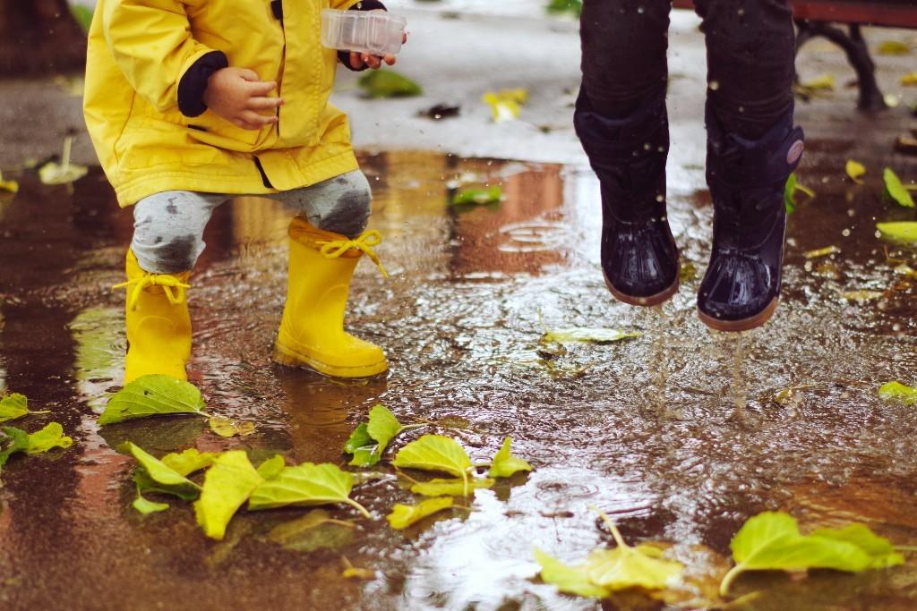 Children in rain gear