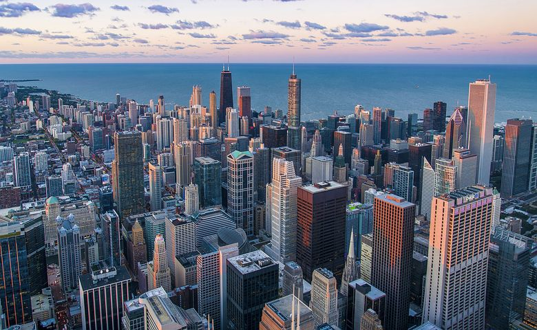 aerial view of Chicago buildings