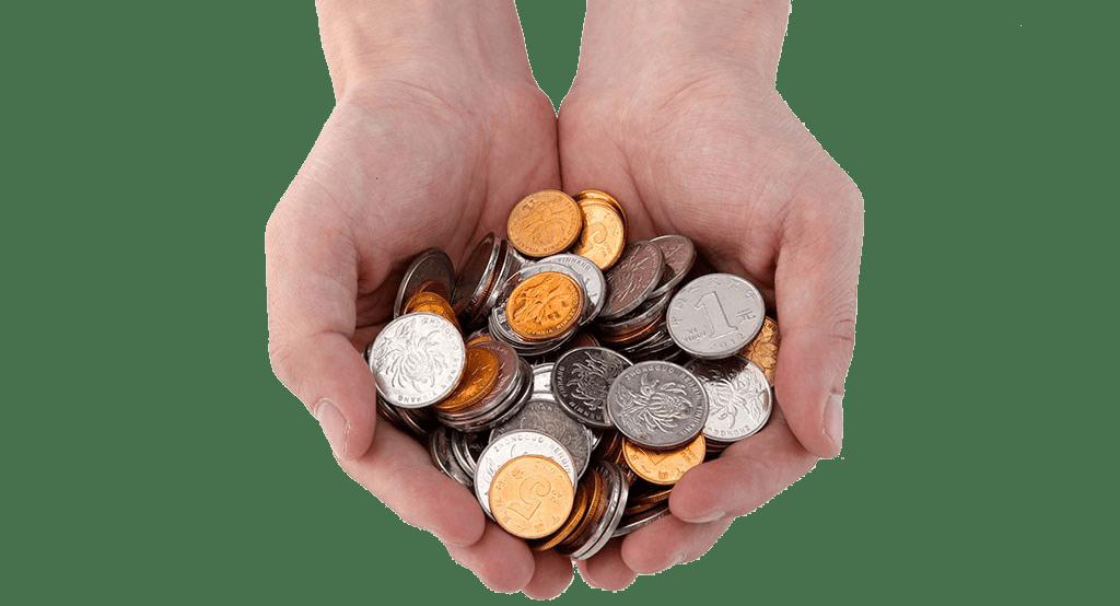 Hands holding coins -- Nickel allergies
