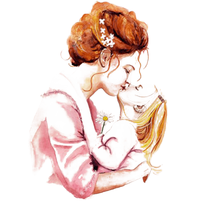 Mothers kissing babies