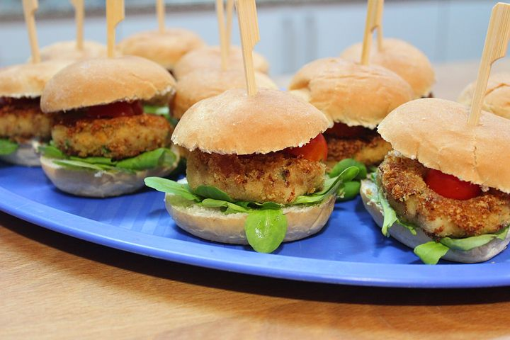healthy recipe ideas, platter of burgers with sticks in them