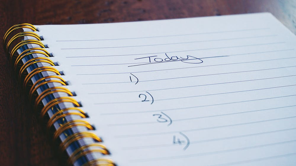 """life habits, spiral notebook with list of numbers one through four and word """"today"""" at top"""