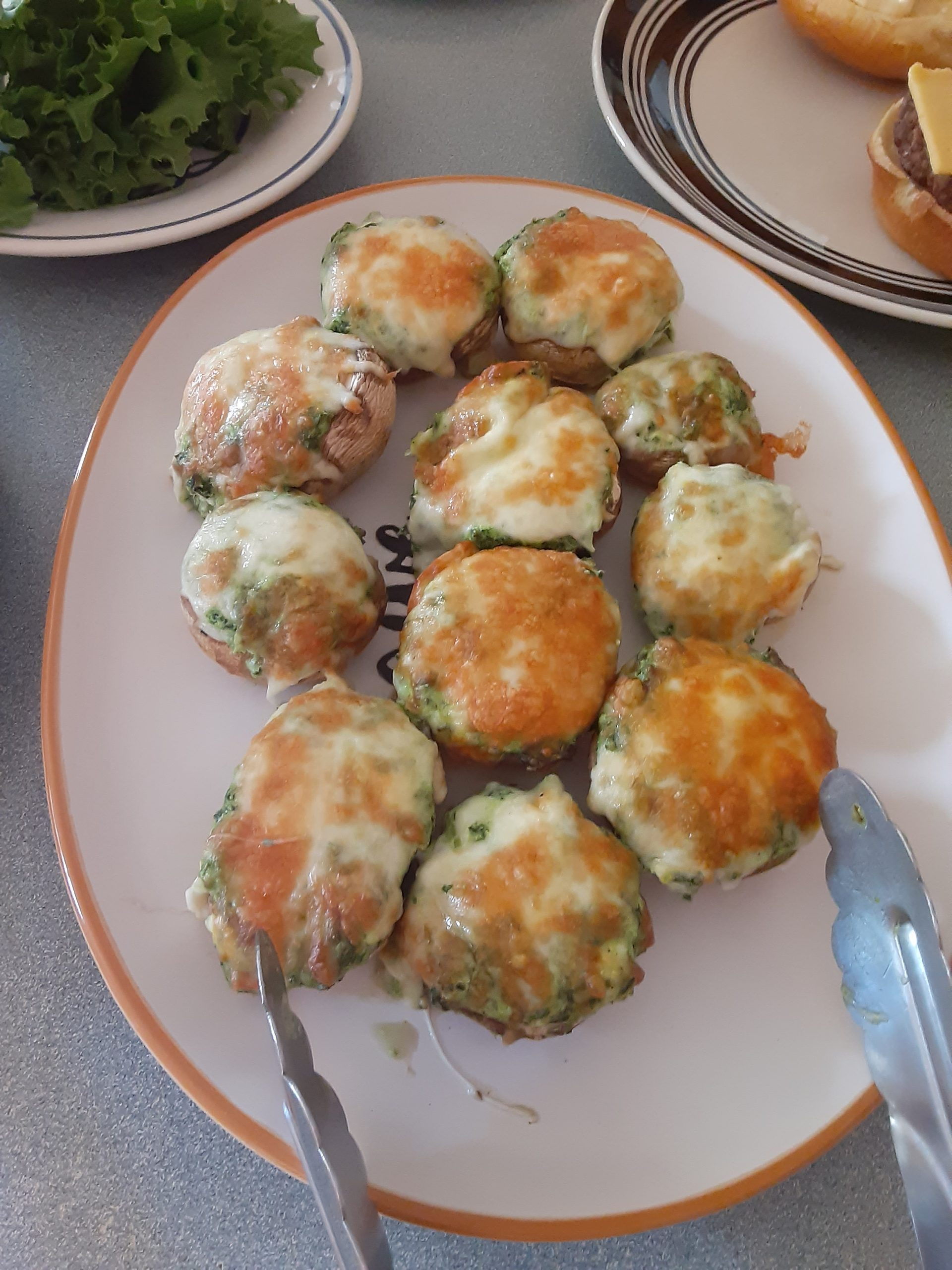 delicious appetizers, platter of stuffed mushrooms