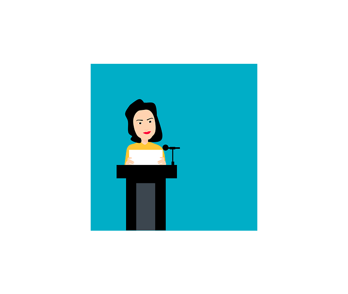 Jen Psaki, cartoon of woman speaking at podium