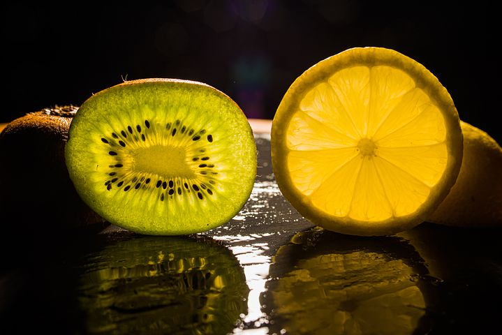 get healthy, slice of kiwi and lemon