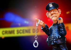 The Rona, crime scene tape, handcuffs. police officer figurine