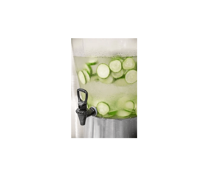 cucumbers, keg of water filled with slices of cukes