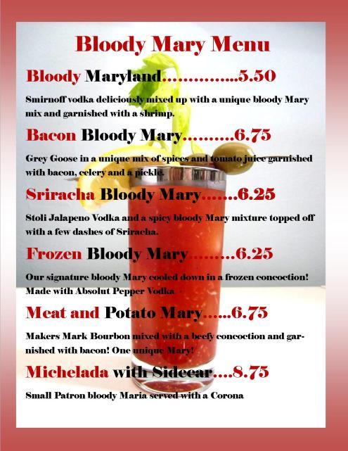 Bloody Mary Menu Image