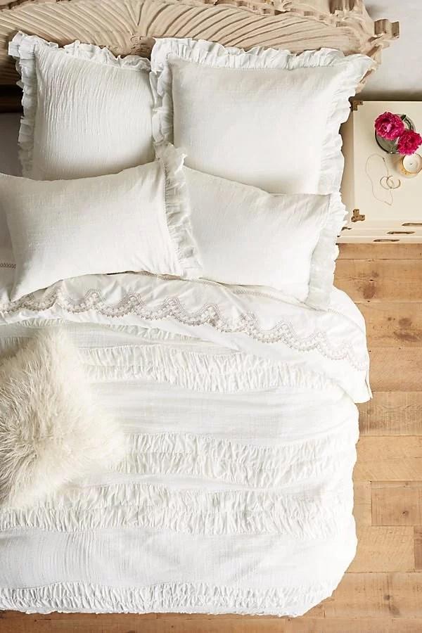 duvet covers, anthropologie, farmhouse style, interior design, master bedroom