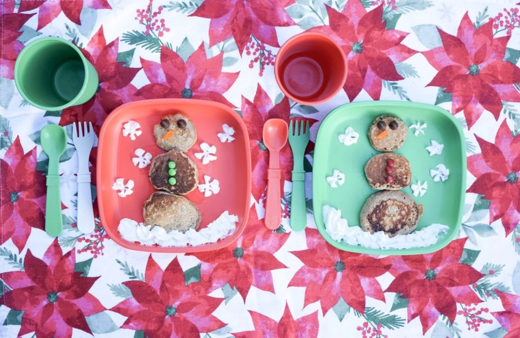 Toddler Breakfast Ideas, Christmas Breakfast for Kids, Pancakes, Children's flatware, snowman pancakes, replay recycled