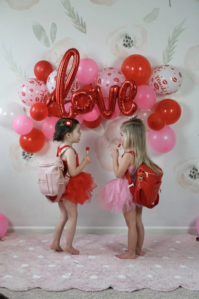 Valentine's Day-Valentine's Party-Toddler play date-balloon arch-Party Planner-tutus-glitter banner-wool ball garland