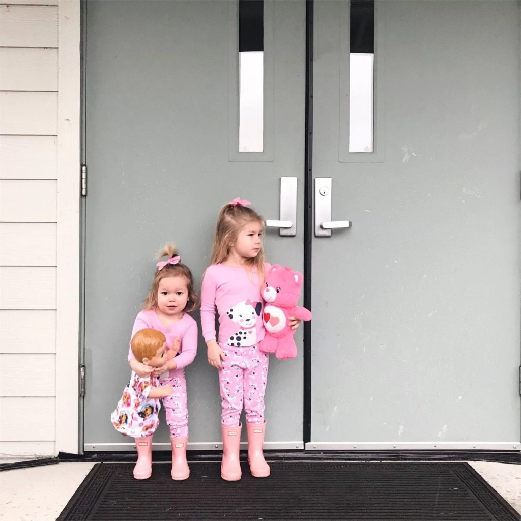 toddler pajamas-pink hunter boots-siblings-sisters