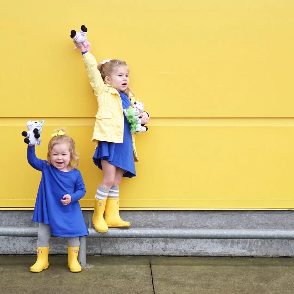 yellow wall-toddler style-yellow hunter boots-blue dresses-toddler fashion