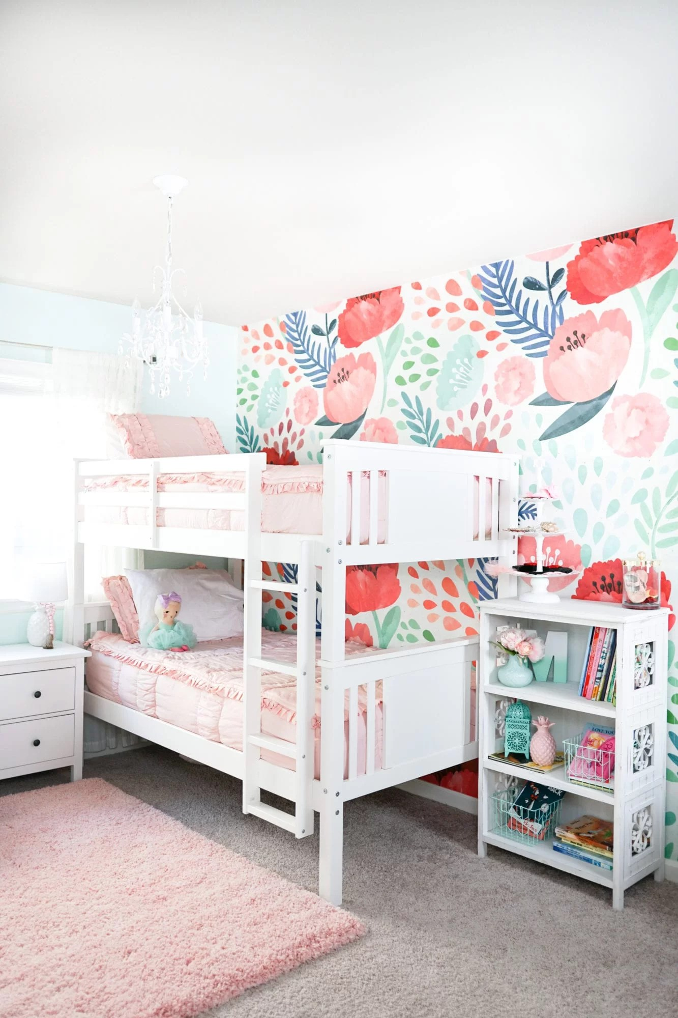 Updating Our Big Girls\' Bedroom with Wallpaper - The House ...