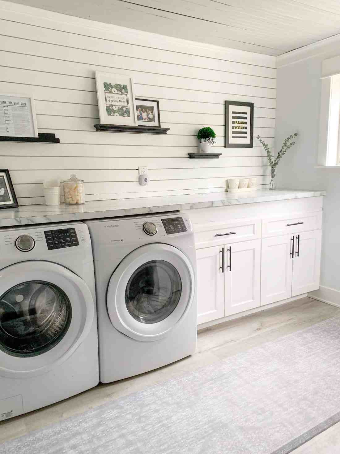 Namamat review: namamat rug in laundry room featured by top Michigan lifestyle blog, House of Navy.
