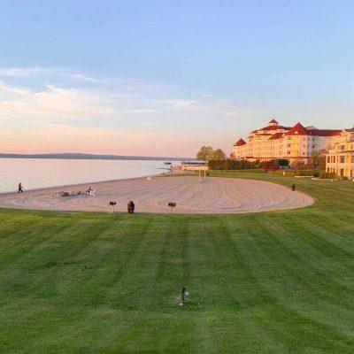 beach and lake michigan sunset near hotel