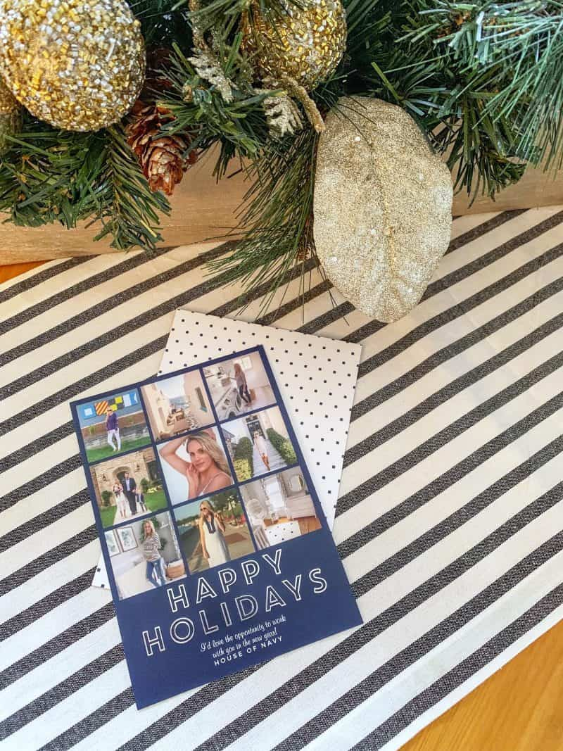 holiday christmas card on table