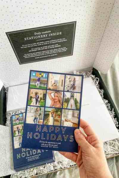unboxing of holiday card package