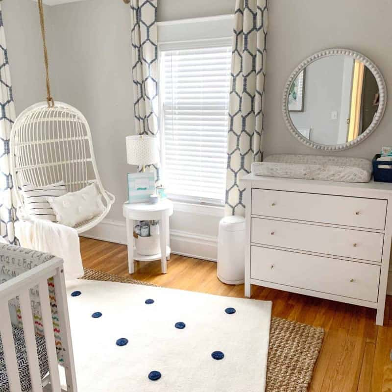 navy and white baby nursery