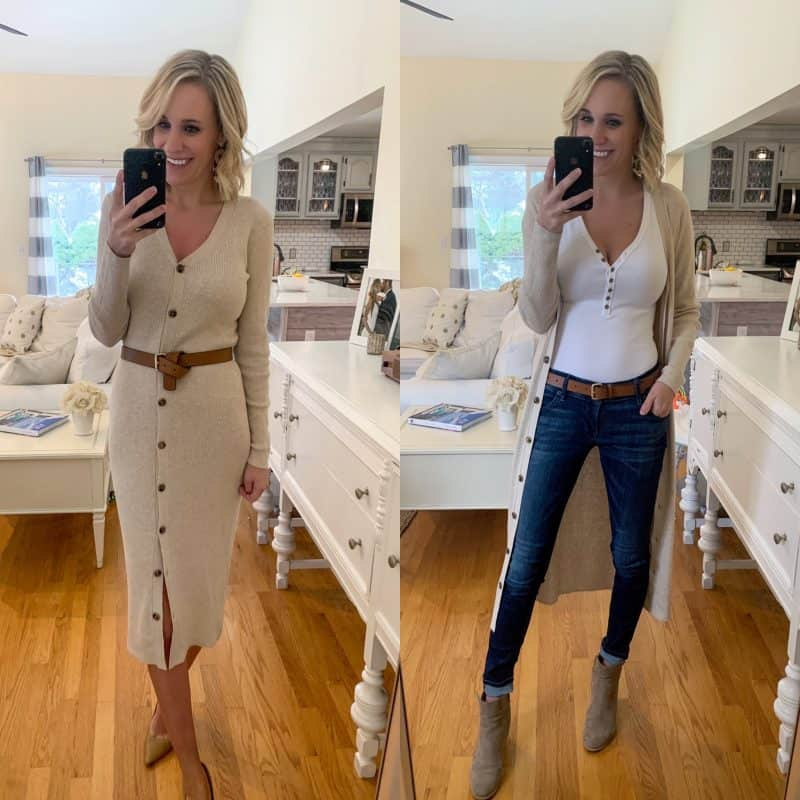 side by side of outfit worn two ways