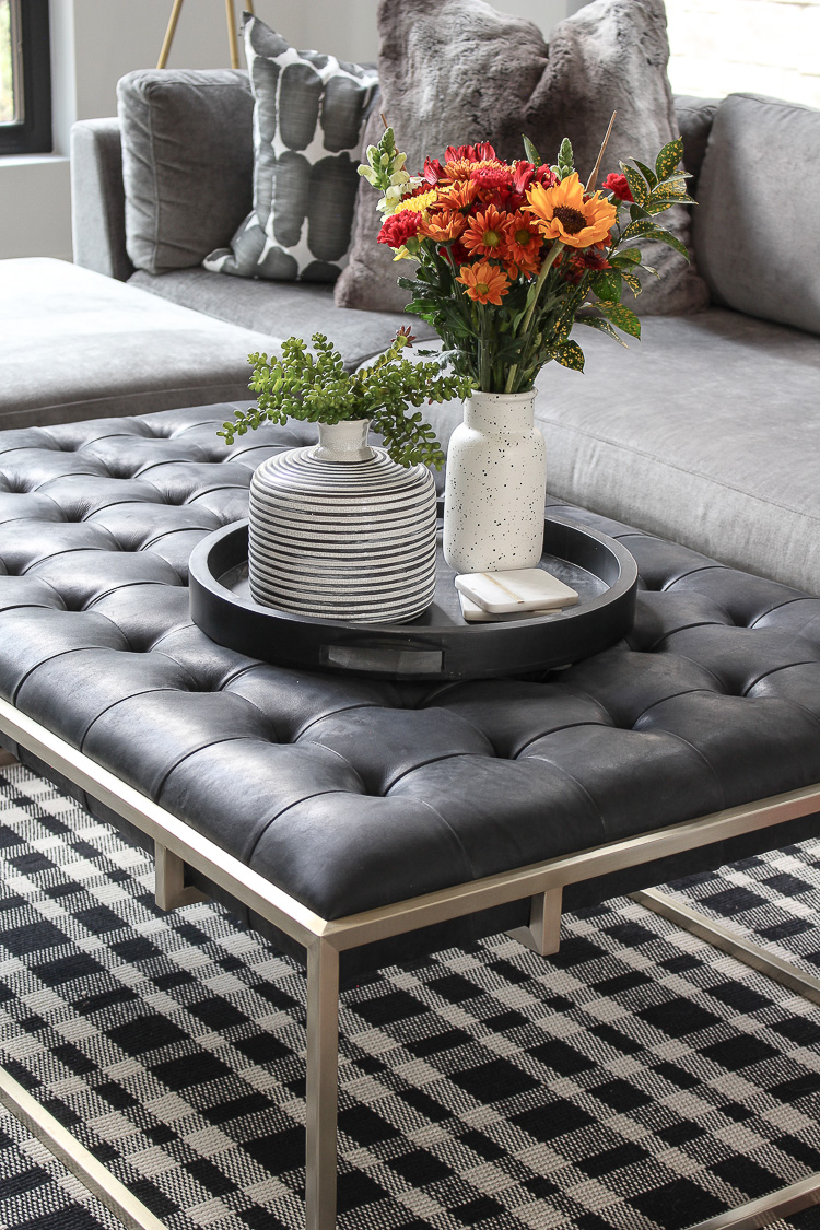 tufted leather coffee table