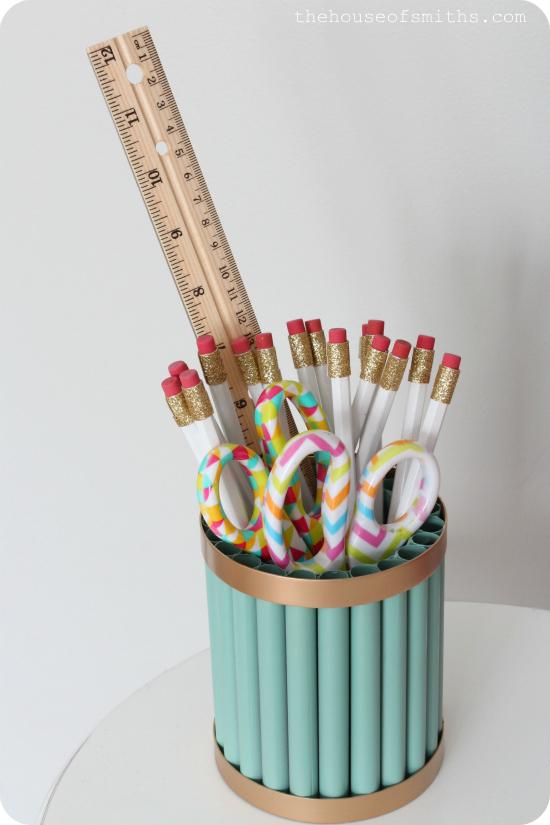 Gold and Jade DIY Pencil Holder - Homework Station - Office Organization - thehouseofsmiths.com