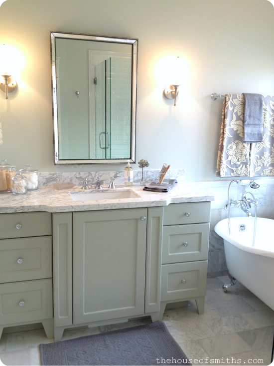 minty green vanity in master bathroom - claw foot tub - master bathroom decorating ideas