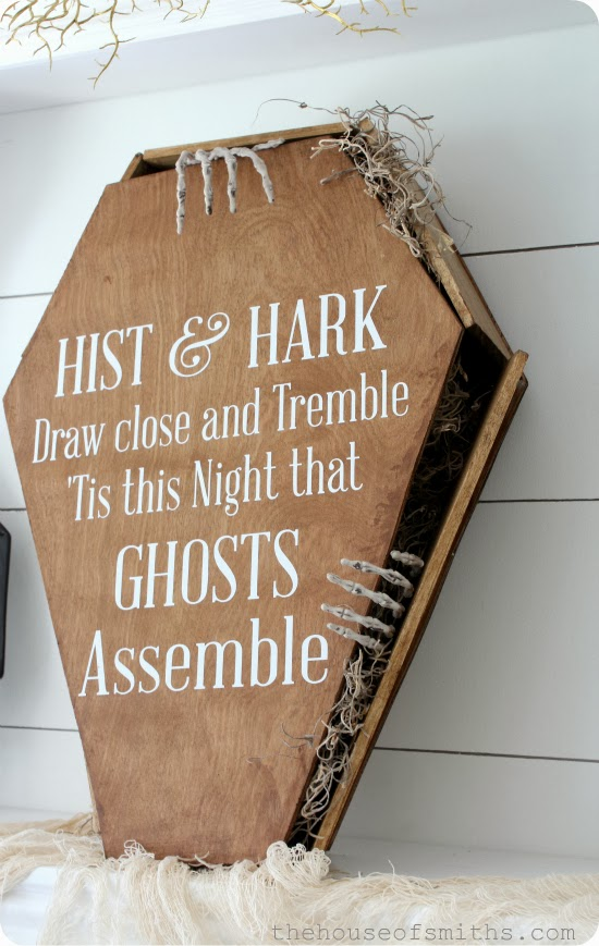 DIY Creepy stained coffin with saying - thehouseofsmiths.com