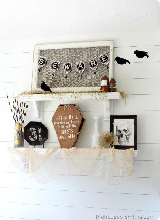 Halloween Shelf Decor - black and white - thehouseofsmiths.com
