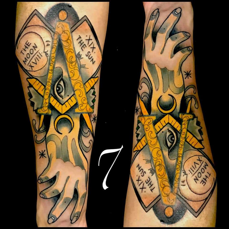 Adriaan seven tattoos with sacred esoteric symbolism the house tattoo artist adrian seven germany europe mexico occult tatto symbol magick alchemy sigil buycottarizona