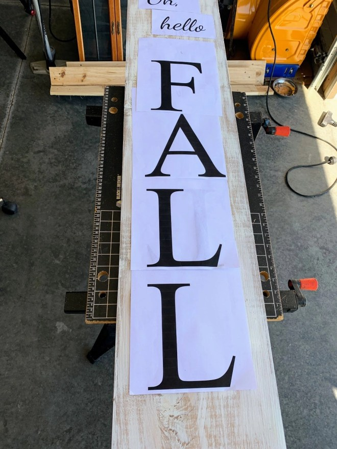 Homemade stencils from printed lettering. Make Your Own Fall Porch Sign
